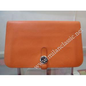 SOLD-Hermes Orange Dogon Calfskin Leather Wallet(R Stamp)