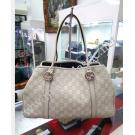 Gucci'GG Twin' White Guccissima Leather Medium Shoulder Tote