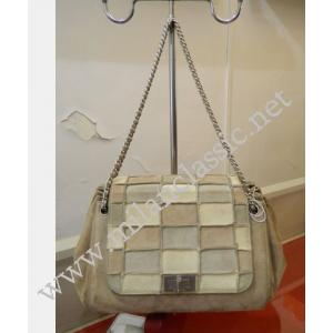 RETURNED-Chanel Suede Leather Patchwork Rhine Stone CC Chain Shoulder Bag