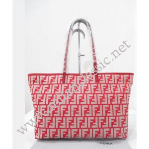 NEW - Fendi Monogram Red Nylon Leather Trim Zipped Tote