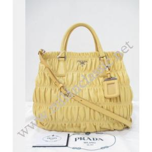 NEW - Prada Yellow Nappa Leather Button Gaufre Hand/Sling Bag