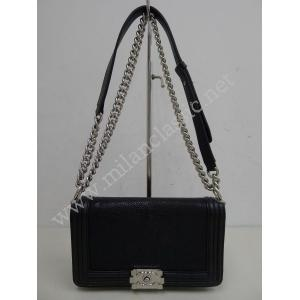 Chanel Boy Flap Black Pearl Ray Skin(Galuchat) With SHW