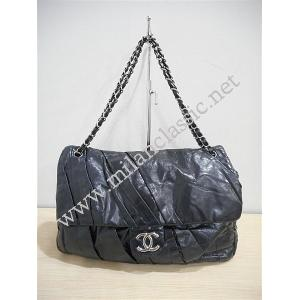 Chanel Black Shine Calfskin Large Flap Bag with Silver Hardware