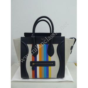 NEW - Celine Luggage Handbag In Multicolor Fabric Textile (Large)