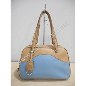 SOLD-Prada Light Blue/Brown Lambskin Shoulder Zipped Tote