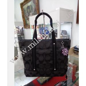 Coach Black Canvas Zipped Shoulder Tote Bag-25087