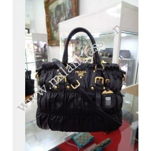 LOST - Prada Black Nappa Leather Gaufre Bag With Zip