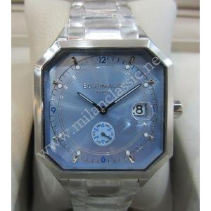 NEW - ED.PINAUD Blue Dial Date S/S Quartz 40mm (With Card + Box)