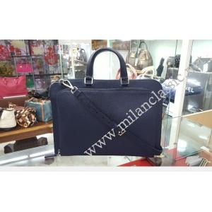 Prada Navy Blue Saffiano Leather Travel Briefcase Bag