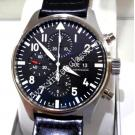 NEW- IWC Pilot Chrono Black Dial Auto Steel/Leather 43mm (With Box + Card)