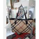 Burberry Nova Canvas Black Patent Leather Trim Tote(With Out Pouch)