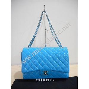 Chanel Blue Patent Leather Timeless Classic Double Flap Maxi Jumbo SHW