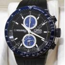Oris William F1 Chrono Dark Blue Textured Dial Black PVD Case / Rubber band 43mm