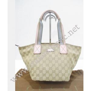 Gucci Brown Canvas Zipped Light Pink Trim Tote
