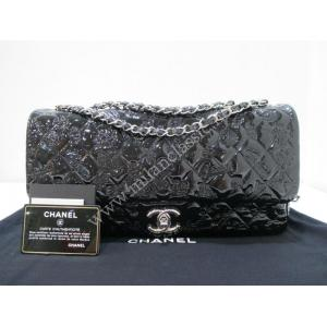 SOLD-LIMITED - Chanel Runway Black Patent Leather Flap Bag SHW