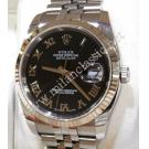 Rolex 116234 Gents Black Roman Letter Sunburst Dial Auto 18K/SS 36mm (With Box + Paper)