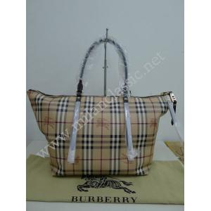 SOLD - NEW - Burberry Haymarket Waterproof Canvas Brown Leather Trim Zipped Tote