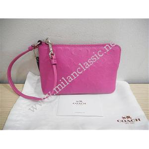 Coach Pink Leather Zipped Wristlet