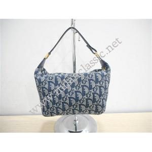 SOLD - Christian Dior Fabric Blue Leather Trim Small Handbag