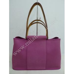 "Hermes Cabag Elan Pink Canvas Hand/Shoulder Bag ""Q Stamp"""