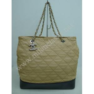 Chanel Beige Lambskin Shopping Tote With Silver Hardware