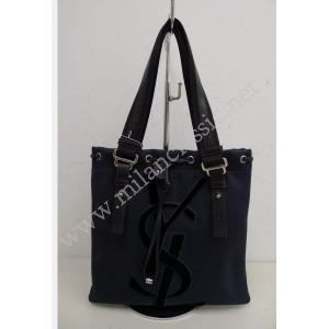 NEW - YSL Black Canvas Shoulder Tote