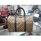 NEW - Gucci Beige/Ebony GG Crystal Medium Canvas Joy Boston Bag