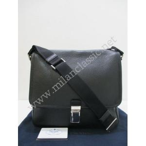 SOLD-Prada Black Calfskin Messenger Bag (Medium)