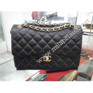 RETURNED-NEW - Chanel Classic Double Flap Jumbo In Black Lambskin With Gold Hardware