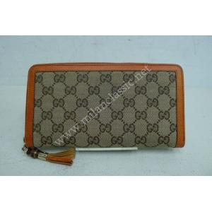 Gucci Bamboo Canvas Zip Around Wallet