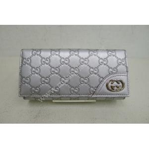 Gucci Signature Silver Leather Continental Wallet With Interlocking G Ornament