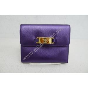 SOLD-Prada Purple Saffiano Short Wallet