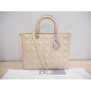 SOLD - Christian Dior Lady Dior Large In Beige Lambskin with Silver Hardware