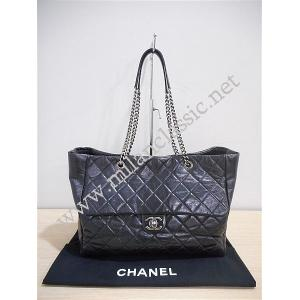 SOLD-Chanel Black Calfskin Large Chain Tote SHW