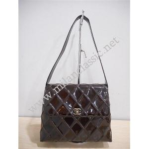 Chanel-Vintage Brown Patent Leather Flap Bag