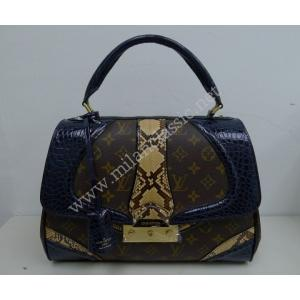 NEW - LIMITED EDITION - LV Monogram Navy Blue Crocodile Python Kelly Bowler Bag