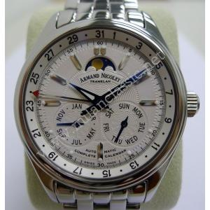(New MC 26086)Armand Nicolet Complete Calendar White Dial S/S Auto 43mm (With Card + Box)