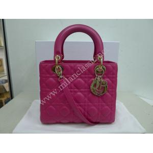 Christian Dior Lady Dior Medium Bag in Hot Pink Lambskin with Gold Hardware
