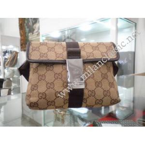 Gucci-Beige GG Canvas Dark Brown Leather Trim Waist Pouch/Belt Bag (Pig Skin)