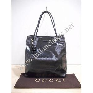 Gucci Black Patent Leather Large Open Tote
