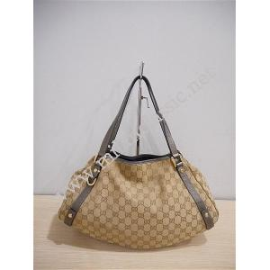 RETURNED - Gucci Brown Canvas Silver Leather Trim Shoulder Bag