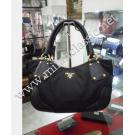 Prada Black Nylon Calf Leather Trim Shoulder Bag