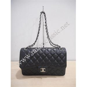 SOLD - Chanel Black Caviar Classic Double Flap Jumbo SHW