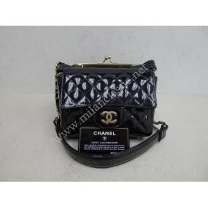 Chanel Double Bag In Black Patent Leather With Min-Flap Bag And Clutch
