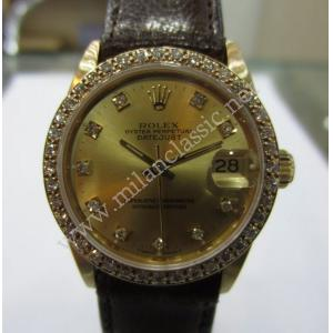 SOLD-Rolex 68278 Mid Size Gold Diamond Dial with Diamonds Bezel 18K Gold Auto 30mm (with Box)