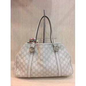 GUCCI White Guccissima Leather Medium Shoulder Tote