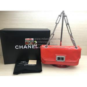 CHANEL Mademoiselle Reissue Coral Red Medium Patent Leather Bag