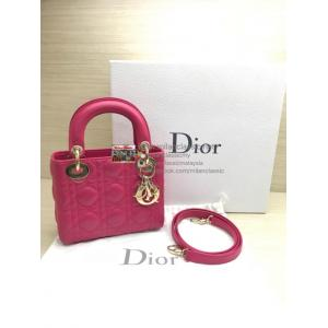 DIOR Mini Lady Dior Pink Lambskin Gold Hardware
