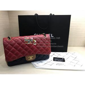 LIMITED EDITION - CHANEL Tricolor Lambskin  Classic Jumbo Double Flap Bag