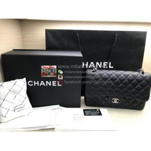 SOLD-CHANEL Jumbo Black Caviar Leather Silver Hardware Classic Flap Bag